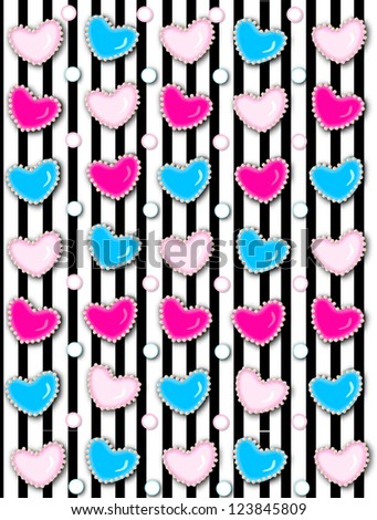 Black stripe background has 3D hearts surrounded by tiny, cream colored pearls.  White polka dots are outlined in blue and pink. - stock photo
