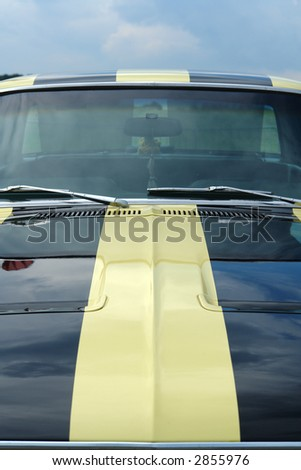 Black Striped American Muscle Car