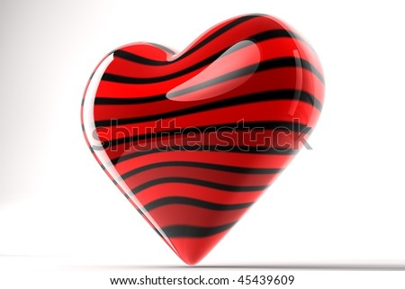 Black Striped Red Heart 3D