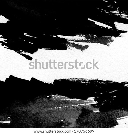 Black striped watercolor hand drawn background  - stock photo