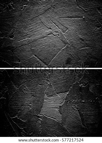 Black Stucco Wall Texture Set Gothic Plaster Ribbed Blank Background