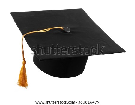 Black student hat, isolated on white - stock photo