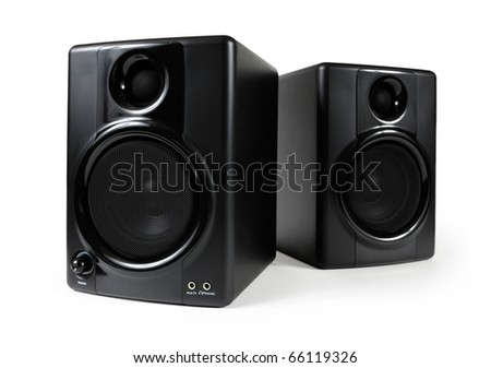 Black studio monitors. High-end sound speakers. Isolated with clipping path on white background. - stock photo