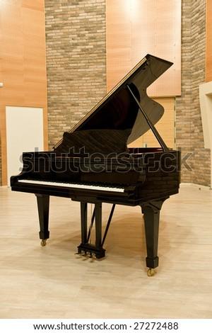 black studio piano - stock photo