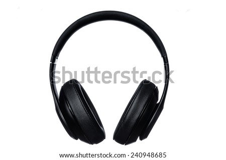 Black studio wireless headphones over white background - stock photo