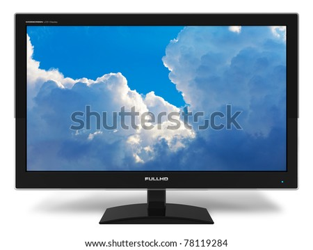 Black stylish glossy widescreen TFT display with blue sky and clouds isolated on white background - stock photo