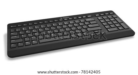 Black stylish wireless keyboard isolated on white background - stock photo