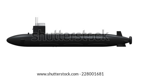 Black Submarine Isolated - stock photo