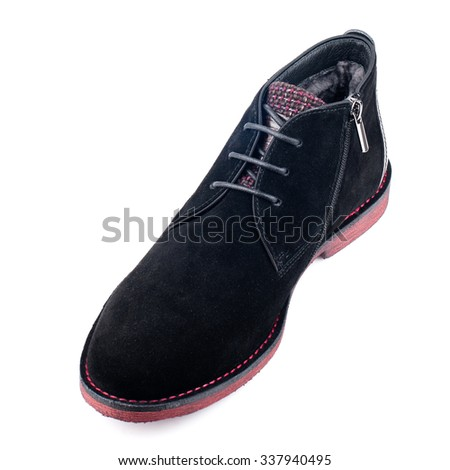 Black suede boot with shoelaces isolated on white.Top view. - stock photo