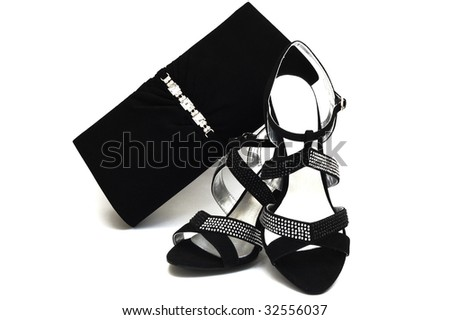 Black suede female shoes and handbag with pastes isolated on white - stock photo