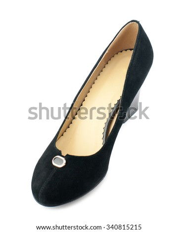 Black suede shoe isolated on white background.Top view. - stock photo