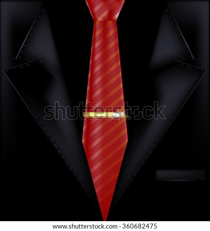 black suit and red tie - stock photo