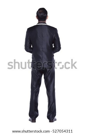 Black Suit tuxedo Businessman standing with back to the camera or from behind, black pant white shirt, isolated on studio lighting white background