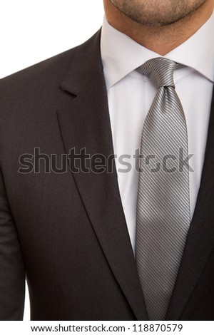 black suit with grey tie