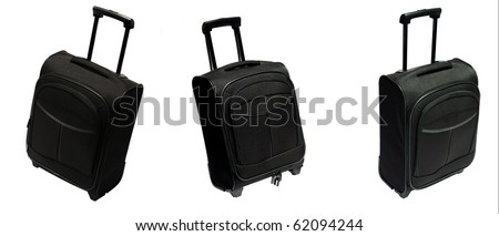Black suitcase in different settings over white background - stock photo