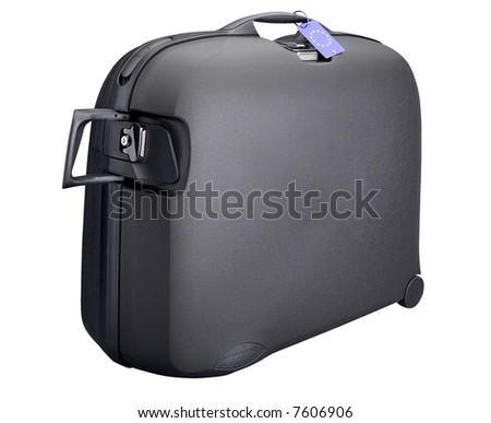 Black Suitcase - isolated on white - stock photo