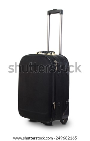 Black suitcase isolated on white background - stock photo
