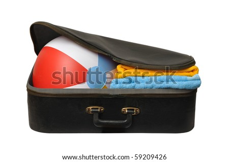 Black suitcase with beach ball isolated on white