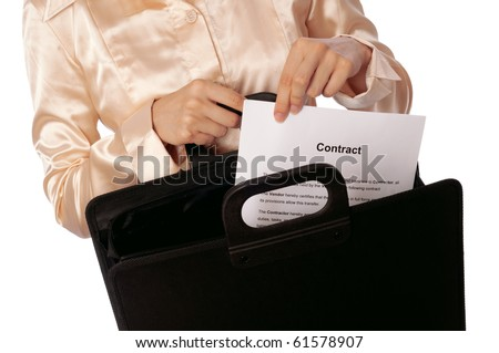 Black suitcase with blank contracts for new employees - stock photo