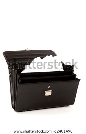 Black Suitcase with Paperwork on a White Isolated Background