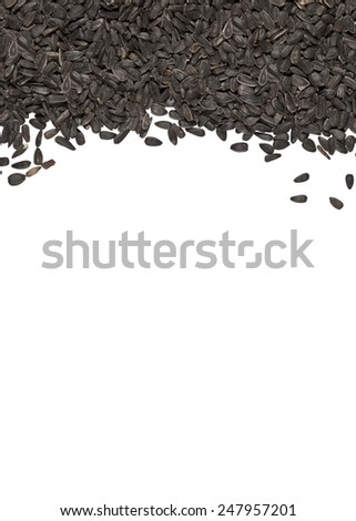 Black sunflower bird seed fills top part of image with white space below.