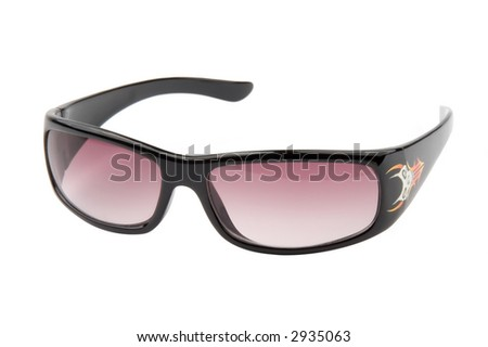 Black sunglasses isolated over white background - stock photo
