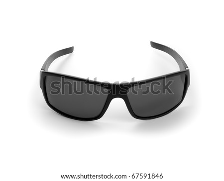 black sunglasses on white background. isolated path included - stock photo