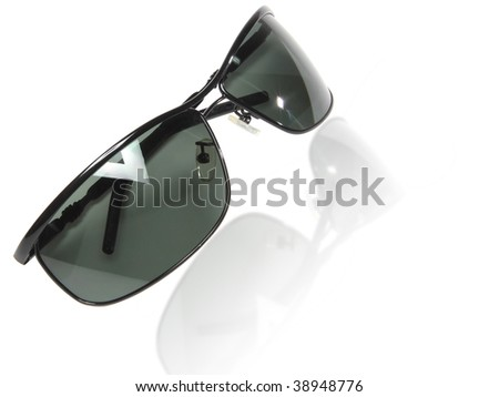 Black sunglasses with reflection isolated on white background