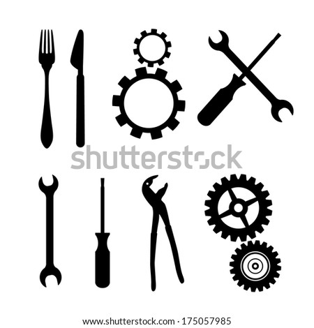 Black Symbols Isolated on White Background - Cogs, Gears, Screwdriver, Pincers, Spanner, Hand Wrench Tools, Knife, Fork - Also Available in Vector Version  - stock photo