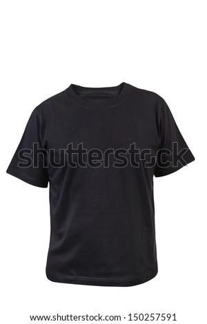 Black T-shirt. Front. - stock photo
