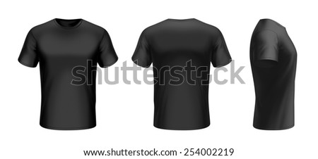 Black t-shirt front, back and side view with clipping path isolated on white background - stock photo