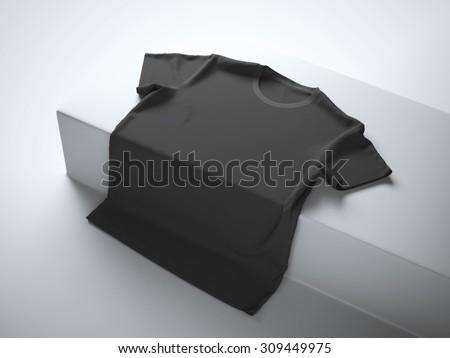 Black t-shirt in the white studio - stock photo
