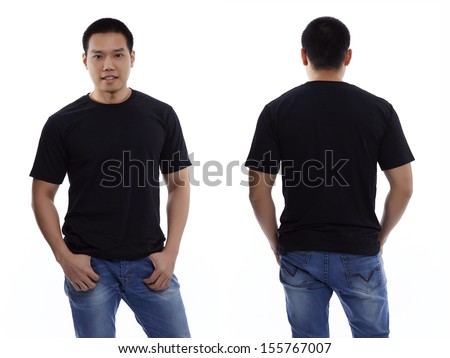 Black t-shirt on a young man isolated front and back-Studio Shot