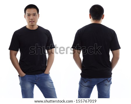 Black t-shirt on a young man isolated front and back-Studio Shot - stock photo
