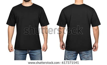 Black Tshirt On Young Man Isolated Stock Photo 617371541 ...