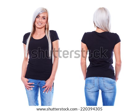 Black t shirt on a young woman template on white background - stock photo