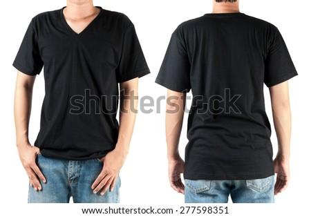 Black t shirt on man template on white  - stock photo