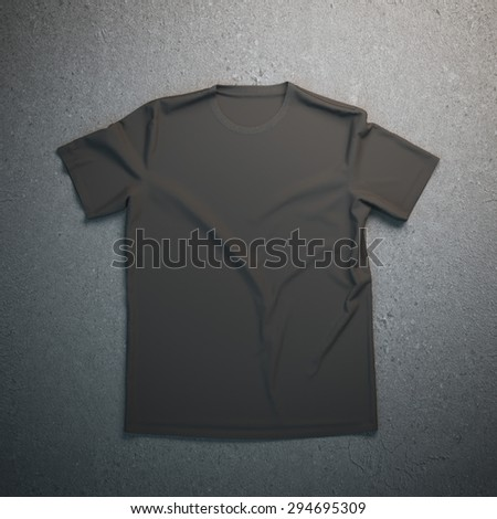Black t-shirt on the gray background - stock photo