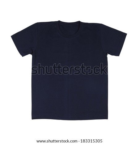 black t-shirt template (front side) on white background - stock photo