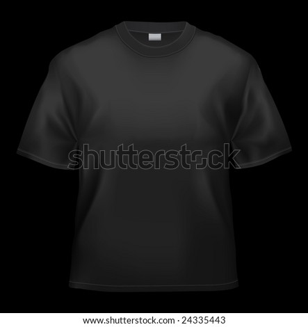 Black T-shirt unisex template (isolated on black, clipping path) - stock photo