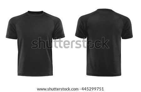 Black T-shirts front and back used as design template isolated on white - stock photo