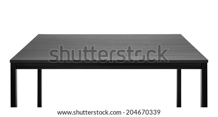 Black table. Wooden board, metal legs. - stock photo