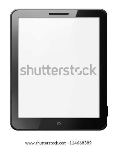 Black tablet computer isolated on white