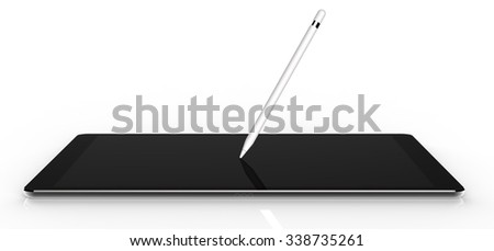 Black tablet computer isolated on white background. Whole render in focus. - stock photo
