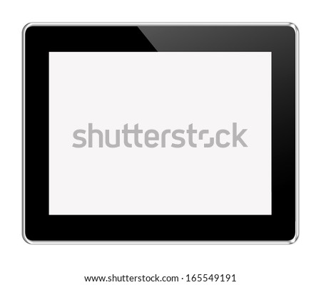 Black tablet computer on white background - stock photo