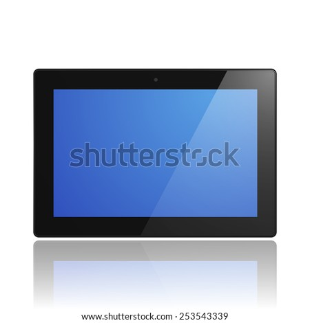 Black Tablet Computer with blue screen and reflection. Illustration Similar To iPad. - stock photo