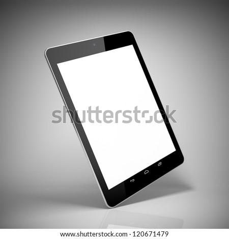 Black tablet computer with touch screen blank - stock photo