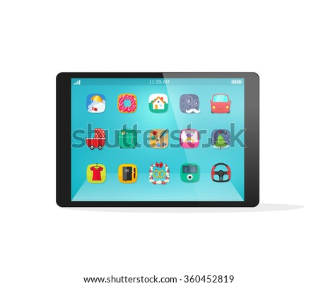 Black tablet device mockup template with app icons on touch screen in flat style, modern interface, smart technology, realistic illustration design isolated on white background image - stock photo
