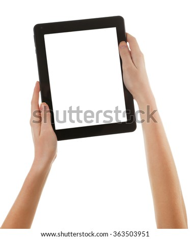 Black tablet in hands isolated on white background