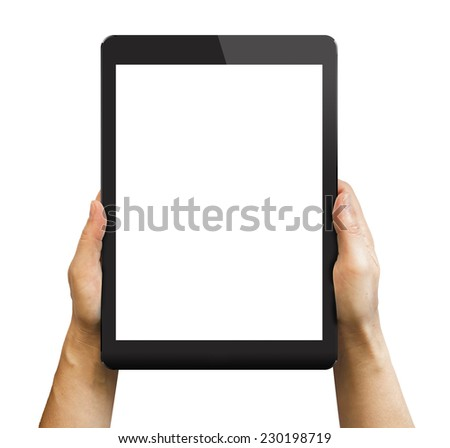 Black tablet in woman's hands isolated on white in vertical mode.